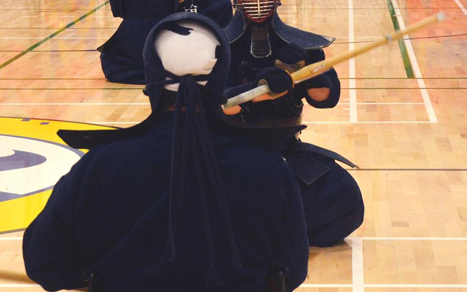 Kendo practitioners put on a demonstration during the Asian American Pacific Islander Heritage Month celebration at Yokota Air Base, Japan, Monday, May 6, 2019.