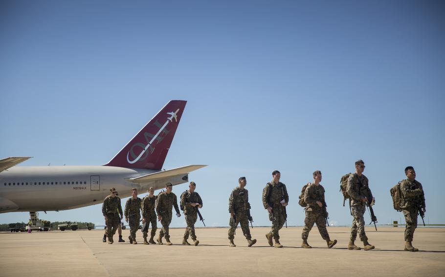 U.S. Marines with the Aviation Combat Element arrive at the Royal Australian Air Force base for the upcoming Marine Rotational Force ? Darwin, Darwin, Australia, April 12, 2019.