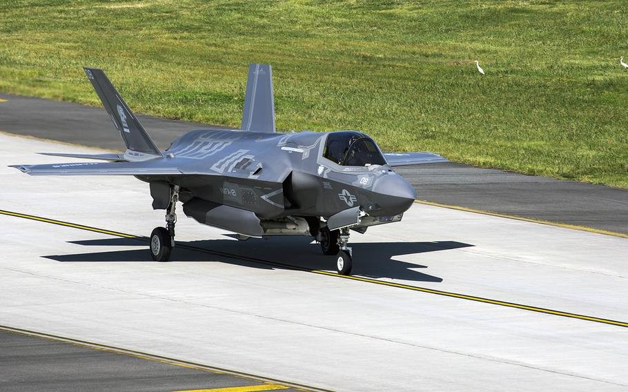 An F-35B Lightning II with Marine Fighter Attack Squadron 121 departs Marine Corps Air Station Iwakuni, Japan, Sept. 18, 2017. An F-35B with the same squadron was damaged by a birdstrike at Iwakuni on May 7, 2019.