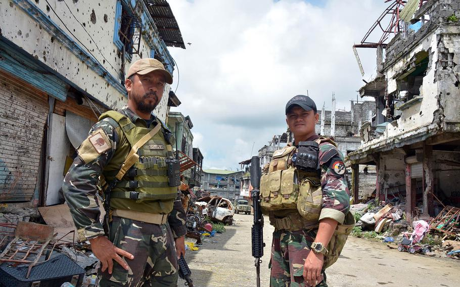 Philippine Rangers Capt. Alex Estabaya and Capt. Ramse Dugan fought in the battle to liberate Marawi from Islamic State insurgents in 2017.