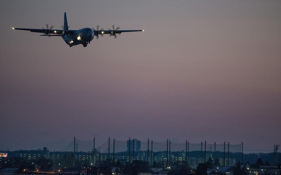 A C-130J Super Hercules with 374th Airlift Wing takes off from Yokota Air Base, Japan, Jan. 14, 2019.