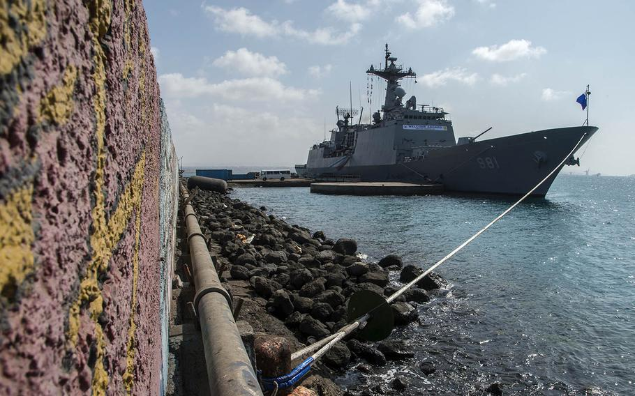 The South Korean destroyer Choi Young is moored at the Port of Djibouti, May 8, 2017.