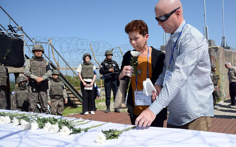 Dorothy Antonelli and Edward McCormick are the niece and grandnephew of Army Sgt. Peter Albert Patete, who was killed in the Korean War in 1950. They joined other relatives of American servicemembers whose remains have yet to be recovered in a visit to the former battleground known as Arrowhead Hill, May 29, 2019.