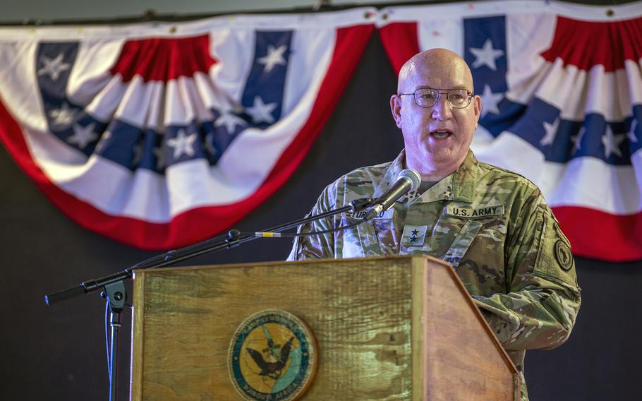 U.S. Army Maj. Gen. Michael D. Turello, the incoming commander of Combined Joint Task Force-Horn of Africa, gives remarks during a change of command ceremony at Camp Lemonnier, Djibouti, June 12, 2019.