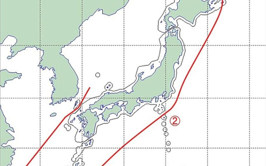 The red line on the map shows the flight path of two Russian Tupolev Tu-95 bombers aircrafts, marking both points of entry into Japanese airspace, June 20, 2019.