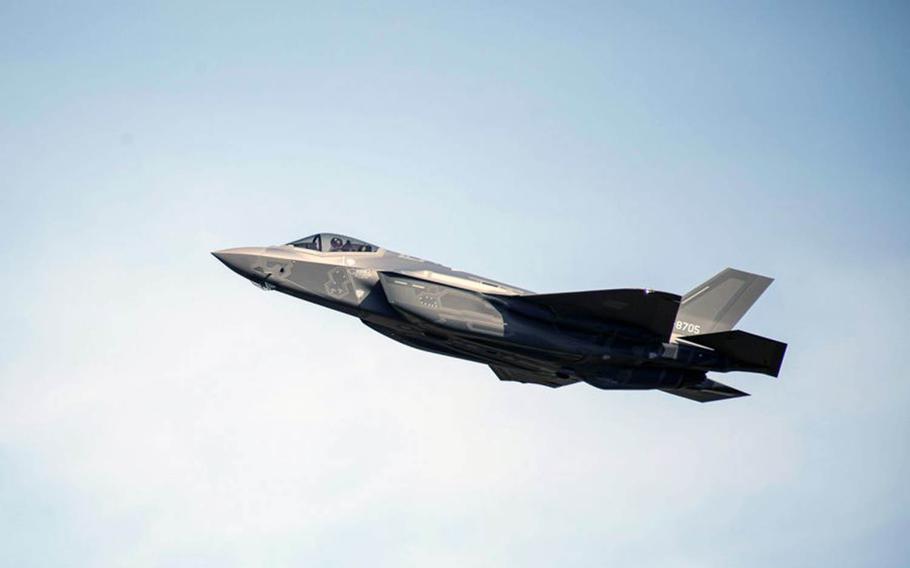 A Japan Air Self-Defense Force F-35A soars over Misawa Air Base, Japan, on Nov. 2, 2017.
