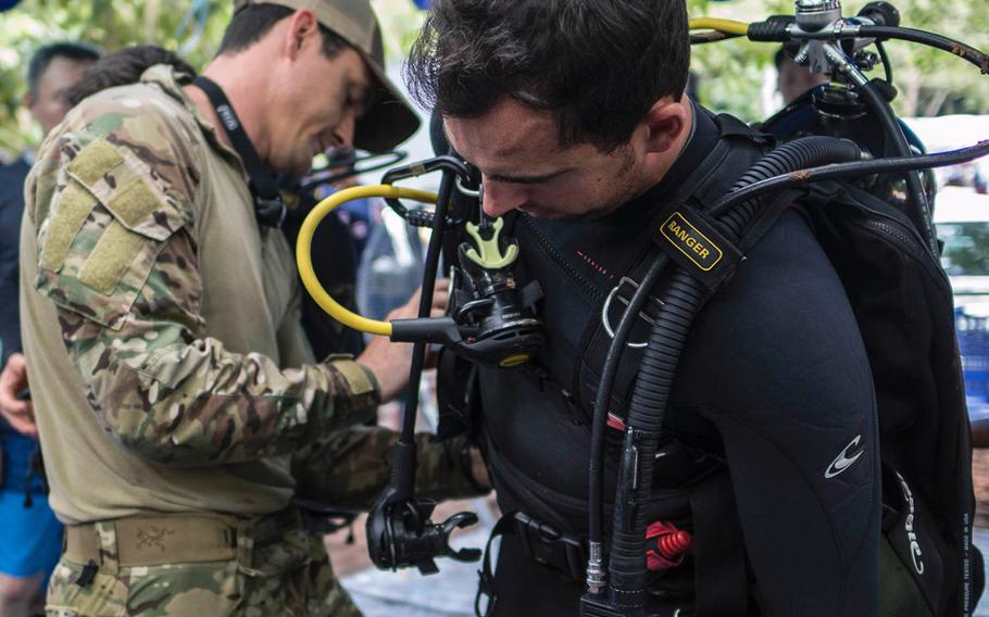 Air Force Tech Sgt. Kenny O'Brien prepares for dive operations outside Tham Luang cave in Chiang Rai, Thailand, on July 2, 2018.
