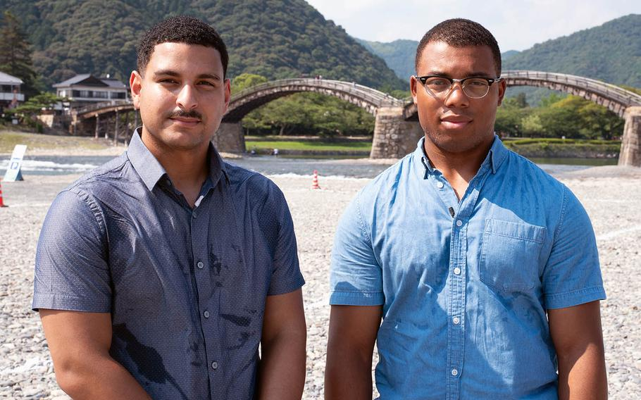 Cpls. Jose Castrobaez, left, and Raekwon Johnson, C-130J engine mechanics, assisted a Japanese civilian who was injured July 27, 2019, while spearfishing near Marine Corps Air Station Iwakuni, Japan. They are pictured near the scene on Thursday, Aug. 1, 2019.