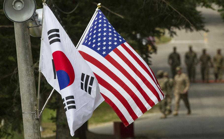 Police say a South Korean man died Tuesday, Aug. 6, 2019, while working at Camp Carroll, South Korea.