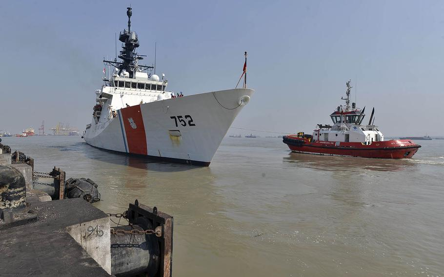 The U.S. Coast Guard cutter Stratton departs the Port of Tanjung Perak, Indonesia, to take part in Cooperation Afloat Readiness and Training on Aug. 4, 2019.