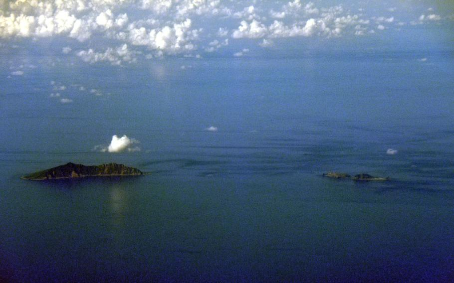The Senkakus, a group of uninhabited islands in the East China Sea claimed by Japan and China, are seen from the air in 2010.