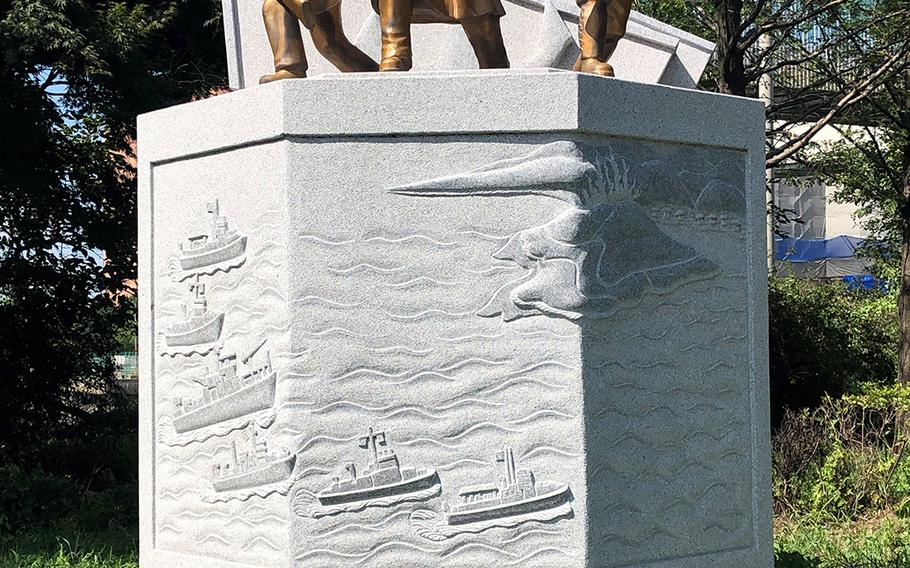 A memorial was erected near the landing site known as Red Beach honoring the September 1950 Incheon landing in South Korea.