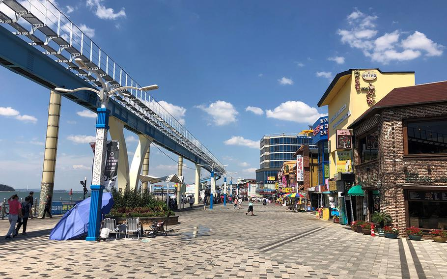 The area where the 5th Marines first came ashore on South Korea's Wolmi Island during the September 1950 Incheon landing operation has become a busy boardwalk lined with seafood restaurants and a popular amusement park.