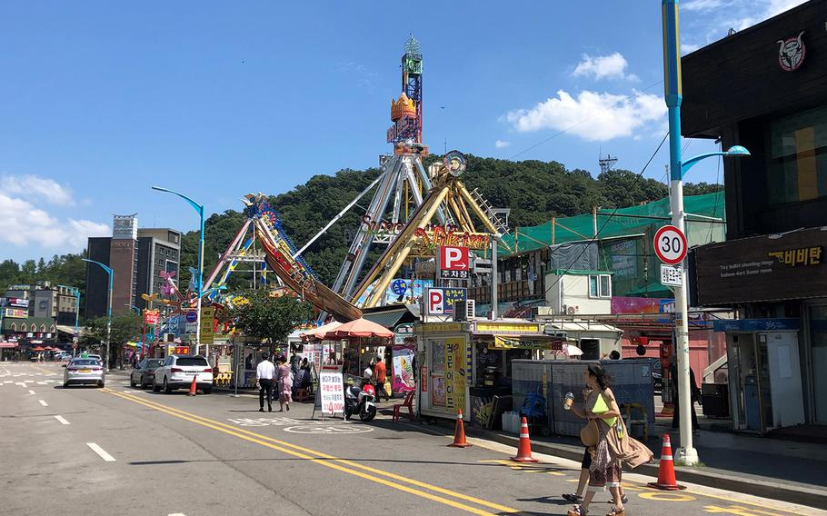 A popular amusement park now sits at the foot of the hill on South Korea's Wolmi Island that was the U.S. Marines' initial objective in the September 1950 Incheon landing.