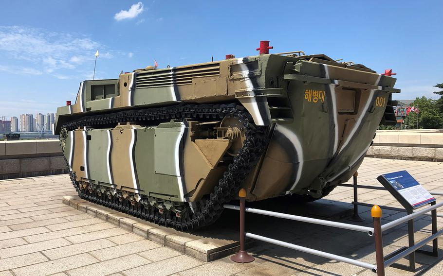 A landing craft used by the Marines during the September 1950 Incheon landing is among the displays at a museum devoted to the pivotal operation in the South Korean port city.