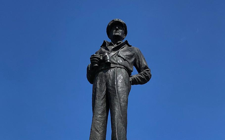 A larger-than-life statue of Gen. Douglas MacArthur, who led the September 1950 Incheon landing, towers above a seaside park in the South Korean port city.