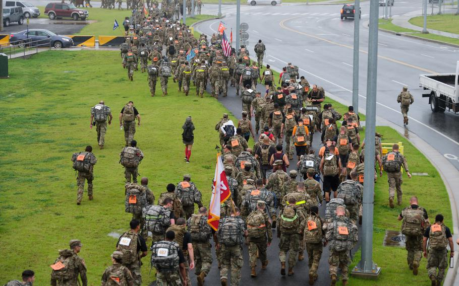 An estimated 500 people signed up for a 9.11-mile memorial ruck march at Camp Humphreys, South Korea, Wednesday, Sept. 11, 2019.