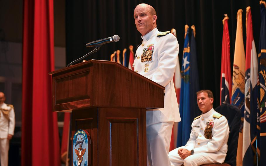 Vice Adm. Bill Merz speaks after taking command of the 7th Fleet from Vice Adm. Phil Sawyer at Yokosuka Naval Base, Japan, Thursday, Sept. 12, 2019.