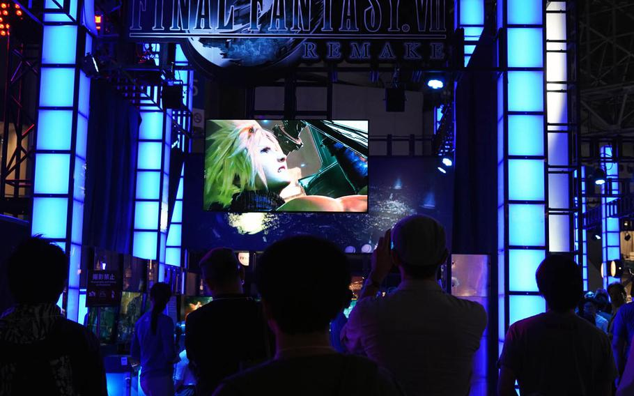 Visitors get a glimpse of the Final Fantasy 7 Remake trailer at the Tokyo Game Show 2019 on Thursday, Sept. 12, 2019.