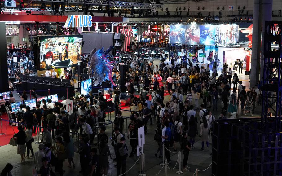 Visitors crowd Hall No. 5 of the Tokyo Game Show 2019 on Thursday, Sept. 12, 2019.
