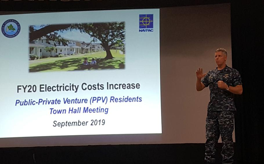 Capt. Jeff Bernard, commander of Joint Base Pearl Harbor-Hickam in Hawaii, speaks about increased electricity rates for residents of Navy privatized housing, during a town hall meeting, Monday, Sept. 23, 2019.