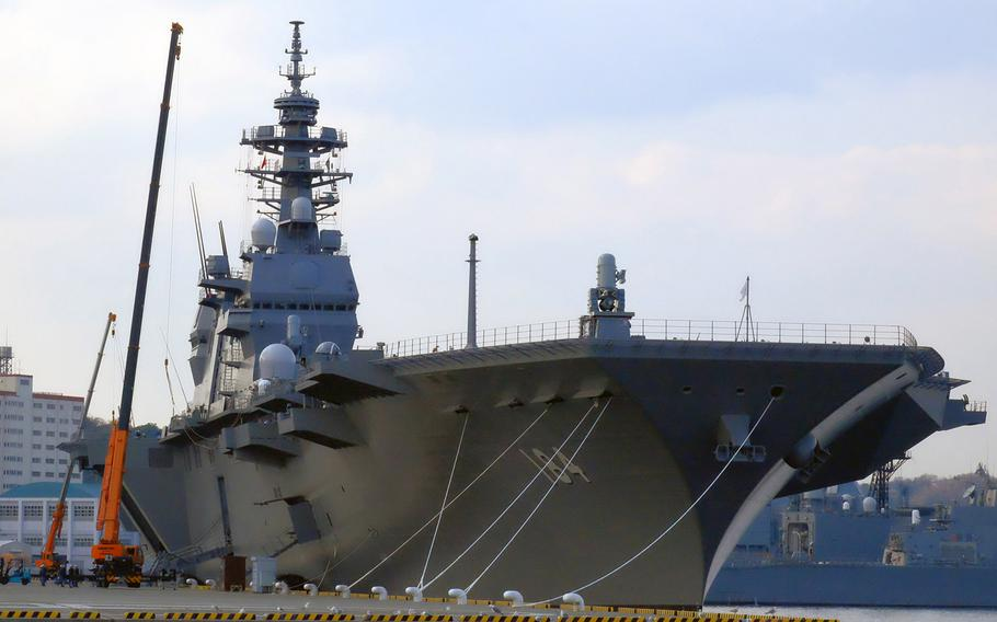 The helicopter destroyer JS Kaga is pictured at a Japan Maritime Self-Defense base in Yokosuka, Japan, March 23, 2017.