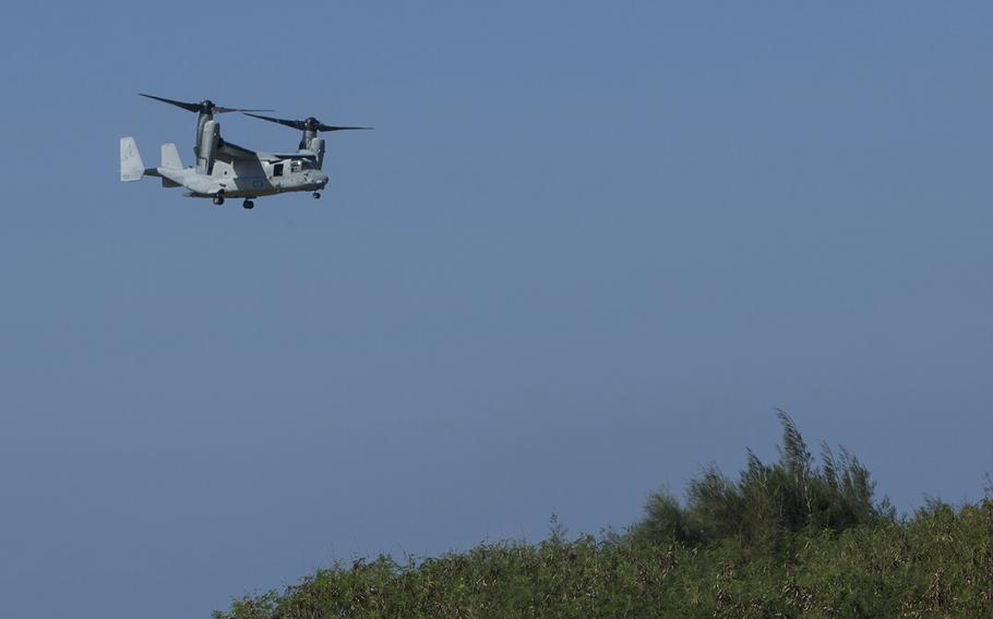 An MV-22B Osprey from the 1st Marine Aircraft Wing prepares to land on an Okinawan island during Blue Chromite drills, Oct. 31, 2016.