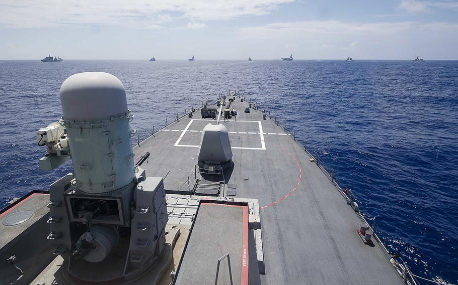 Vessels from the United States, Japan and India take part in Exercise Malabar in the Philippine Sea, June 15, 2018.