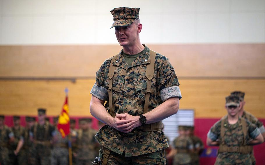 Lt. Col. Jeremy Davis speaks to Marines on the day he took command of the 3rd Transportation Support Battalion, 3rd Marine Logistics Group at Camp Foster, Japan, on June 14, 2019.