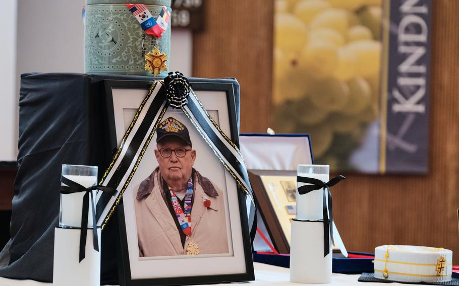 Army veteran Kurt Dressler, 91, is honored during a ceremony inside South Post Chapel at Yongsan Garrison, South Korea, Friday, Nov. 1, 2019. A former German submariner, Dressler was a prisoner of war who joined the Army after World War II.