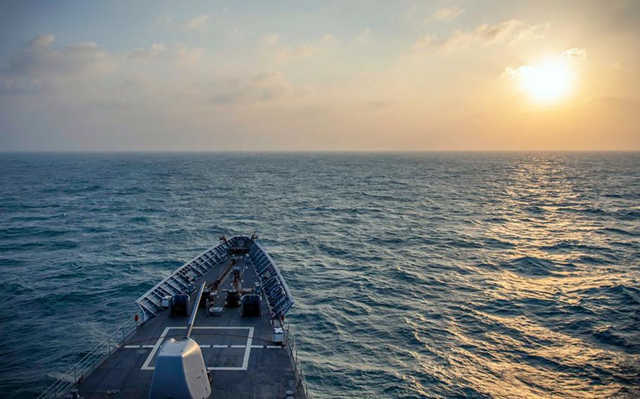 The guided-missile cruiser USS Chancellorsville sails through the Taiwan Strait, Tuesday, Nov. 12, 2019.