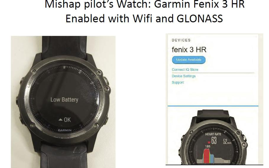 Capt. Jahmar Resilard was wearing a Garmin Fenix 3 smartwatch when he ejected from an F/A Hornet at 1:44 a.m., Dec. 6, 2018, after a midair collision with a KC-130J refueler, according to the command investigation report. Data from the watch indicated that his heart was beating at an average of 86 beats per minute until approximately 11:30 a.m.