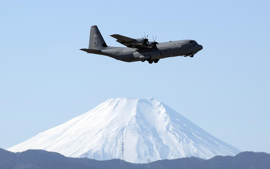 A C-130J Super Hercules from the 36th Airlift Squadron trains over Yokota Air Base in western Tokyo, Jan. 8, 2019.