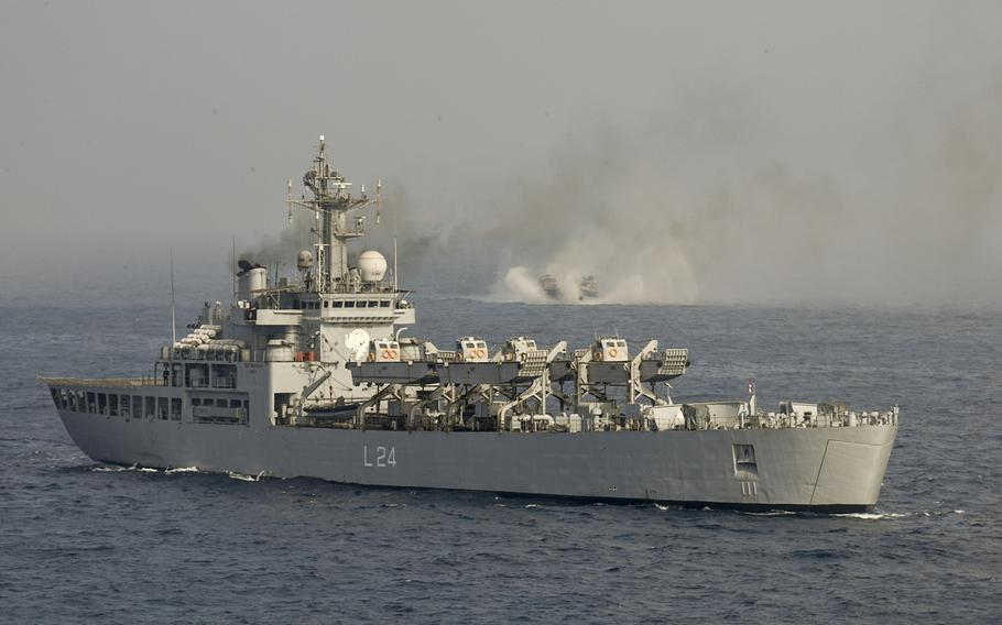 Indian navy's amphibious warfare ship INS Airavat sails in the Bay of Bengal, India, during exercise Tiger Triumph, on Nov. 17, 2019.