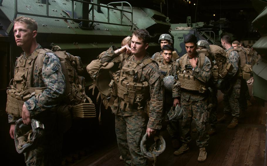U.S. Marines participate in assault amphibious vehicle drills aboard the USS Germantown while underway in the Bay of Benga, India, during exercise Tiger Triumph, Nov. 18, 2019.