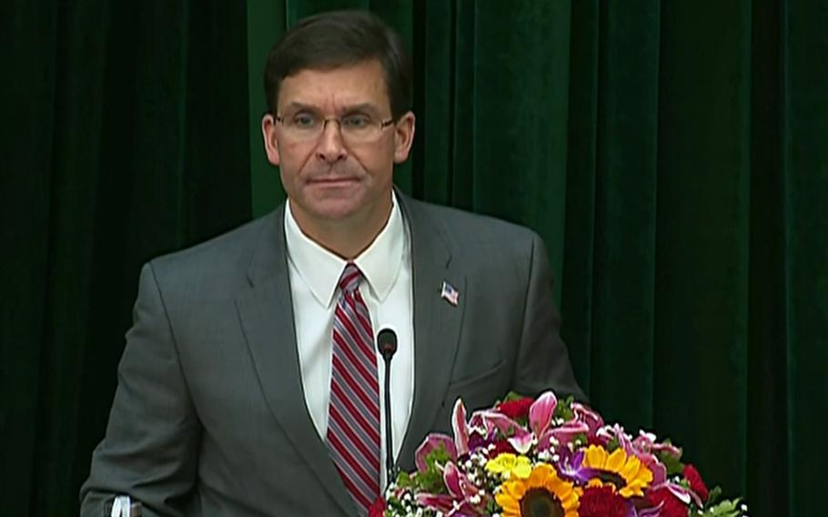 Secretary of Defense Mark Esper during a speech in Hanoi on Wednesday, Nov. 20, 2019, that the U.S. will provide Vietnam with a second coast guard cutter next year.