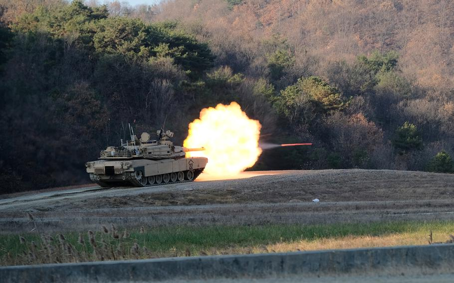 An M1 Abrams tank from the 3rd Battalion, 8th Cavalry Regiment, 3rd Armored Brigade Combat Team takes part in a drill at Rodriguez Live Fire Range in Pocheon South Korea, Tuesday, Nov. 19, 2019.