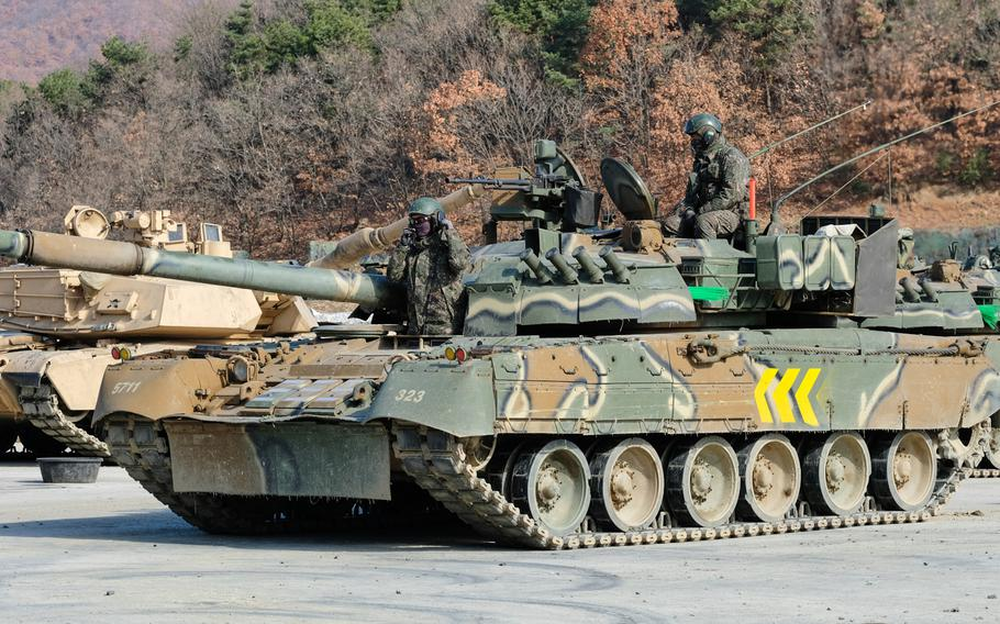 South Korean soldiers repair a T-80U battle tank for an exercise at Rodriguez Live Fire Range in Pocheon, South Korea, Tuesday, Nov. 19, 2019.