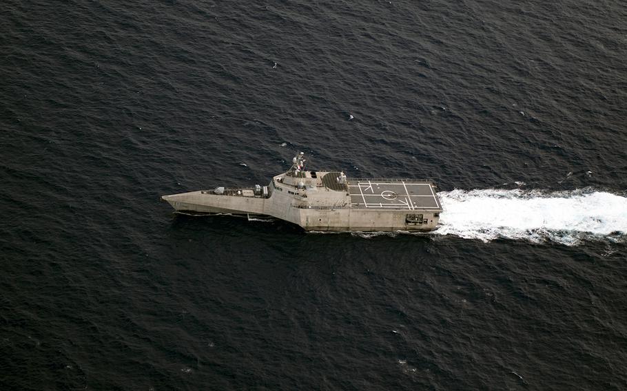 The littoral combat ship USS Gabrielle Giffords sails through the South China Sea, Nov. 18, 2019.