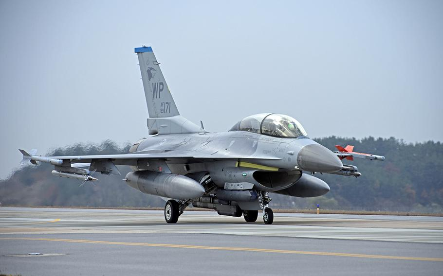 An Air Force F-16 Fighting Falcon from the 35th Fighter Squadron taxis at Kunsan Air Base, South Korea, Nov. 19, 2019.