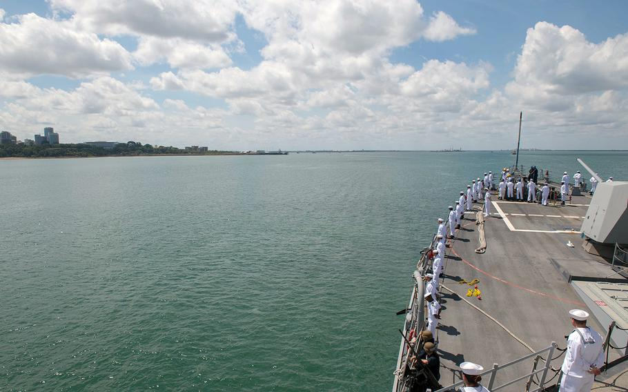 The guided-missile destroyer USS Stockdale approaches Darwin, Australia, for a port visit, April 17, 2019.