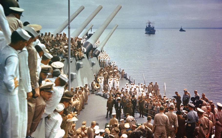 Allied sailors and officers crowd the deck of the USS Missouri on Sept. 2, 1945, to see the official surrender of Japan that ended World War II.