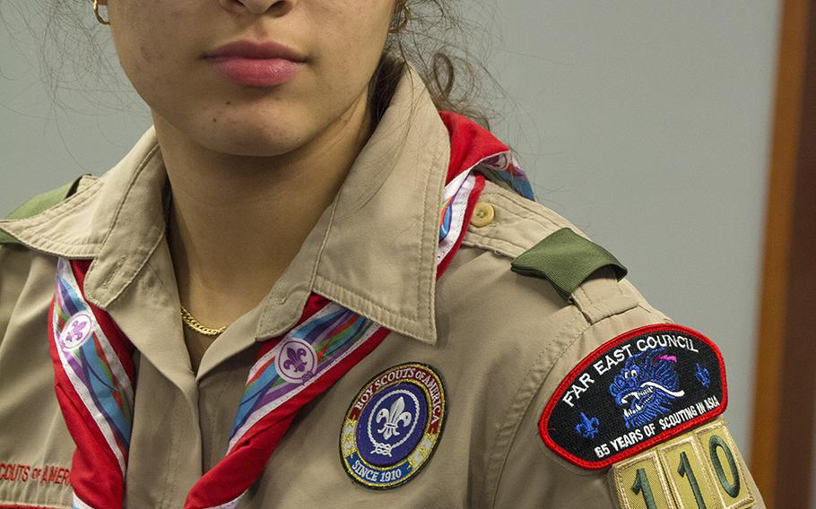 Melanie Alejandra Varon Golden, 17, assistant senior patrol leader of Scouts BSA Troop 110, speaks during a meeting at Camp Courtney, Okinawa, Wednesday, Dec. 18, 2019.