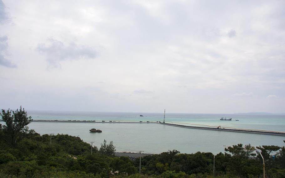 Landfill work continues in March 2019 for a runway at Camp Schwab, a Marine Corps base on Okinawa.