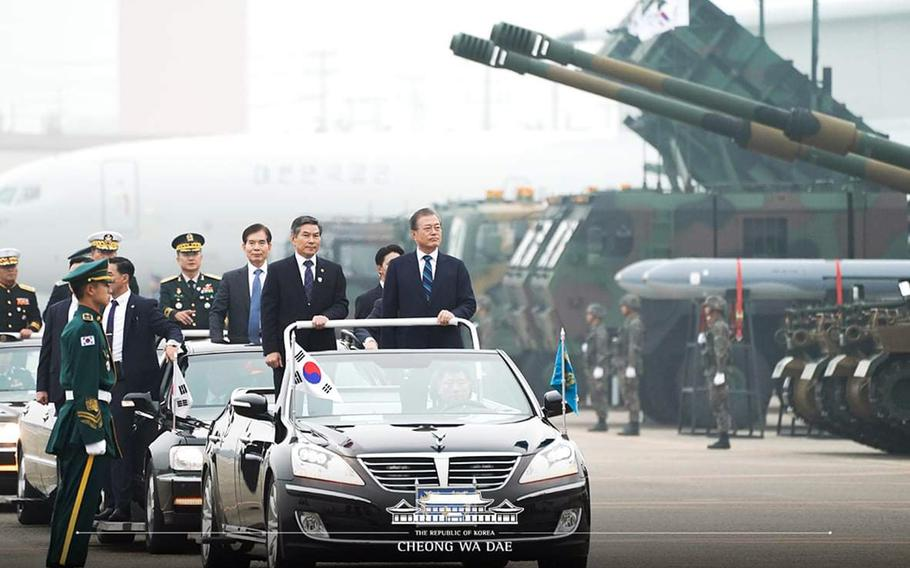 South Korean President Moon Jae-in reviews Patriot anti-missile batteries and other military hardware during Armed Forces Day in Daegu, southeast of Seoul, on Oct. 1, 2019.