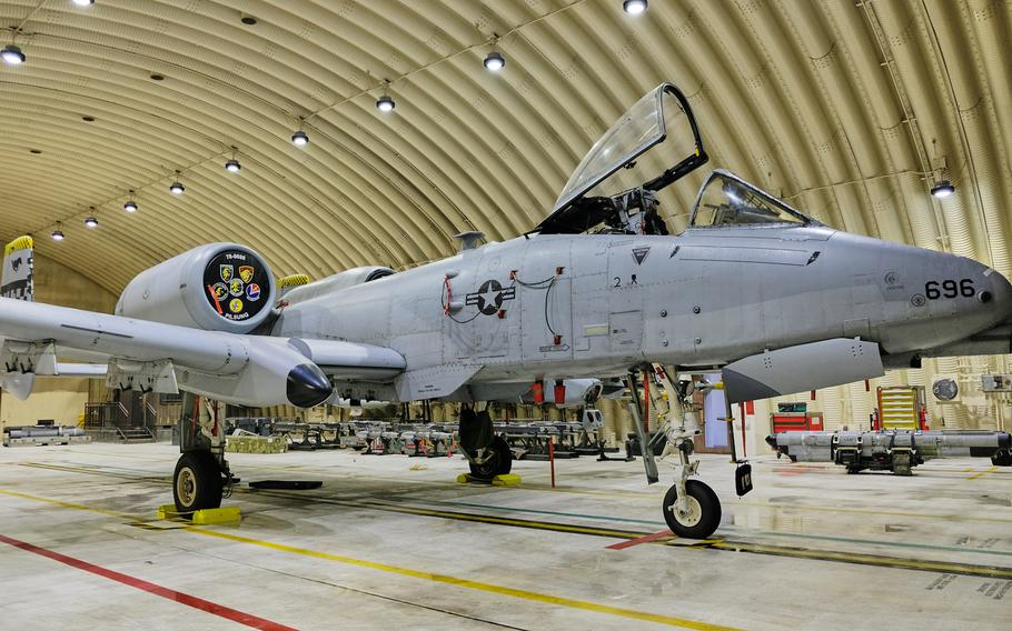 A 51st Fighter Wing A-10 Thunderbolt II with new wings from the Enhanced Wing Assembly program is parked inside a hangar at Osan Air Base, South Korea, Wednesday, Jan. 8, 2020.