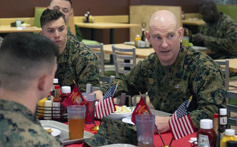 Sgt. Maj. Troy Black has lunch with Marines at Marine Corps Air Station New River, N.C., on Jan. 8, 2020.