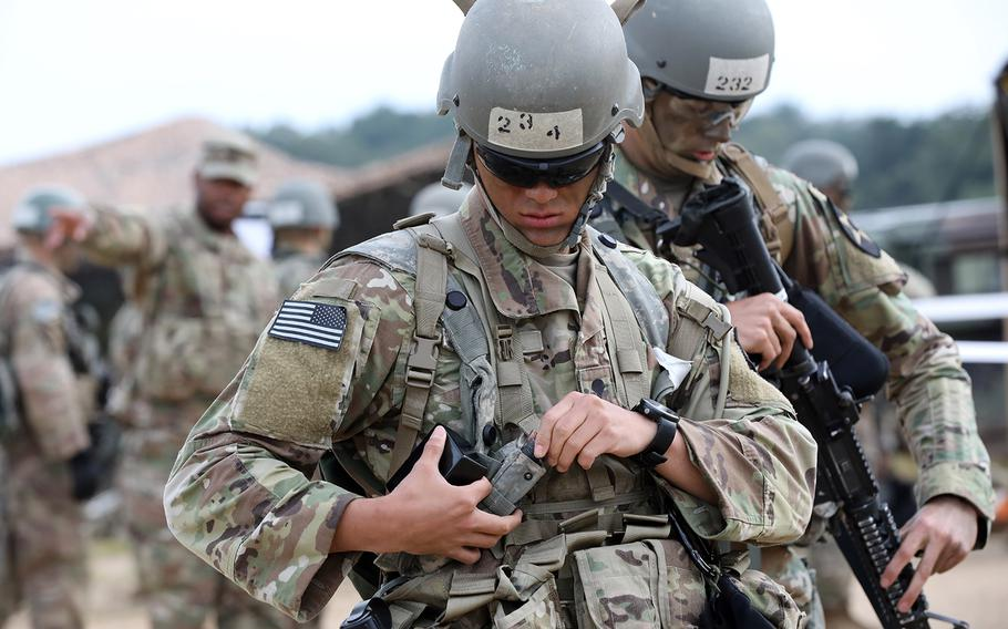 U.S. soldiers prepare to test for the expert field medical badge at Rodriguez Live Fire Complex in South Korea, Sept. 20, 2019.