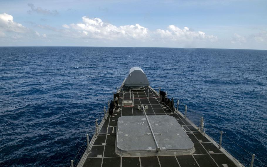The littoral combat ship USS Montgomery sails near Johnson Reef, Spratly Islands, in the South China Sea, Saturday, Jan. 25, 2020.