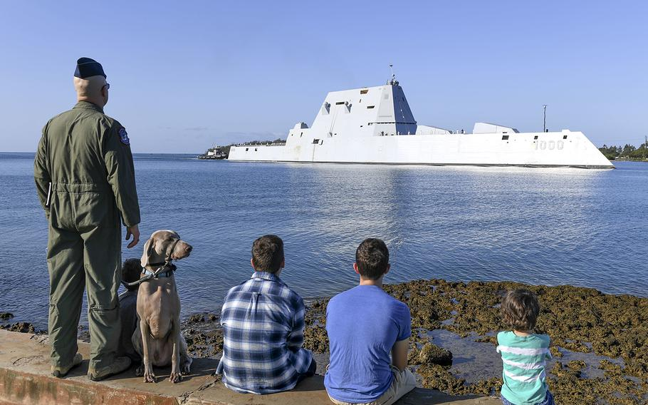 The guided-missile destroyer USS Zumwalt pulls into Joint Base Pearl Harbor-Hickam, Hawaii, April 2, 2019.